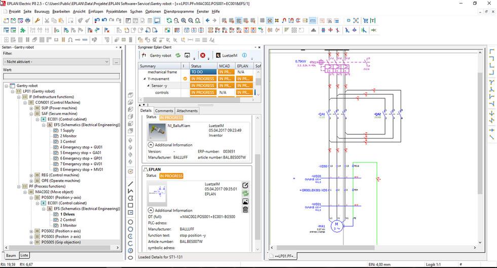 Proste włączenie Syngineer do interfejsu EPLAN: schematy i urządzenia mogą być połączone dzięki niemu