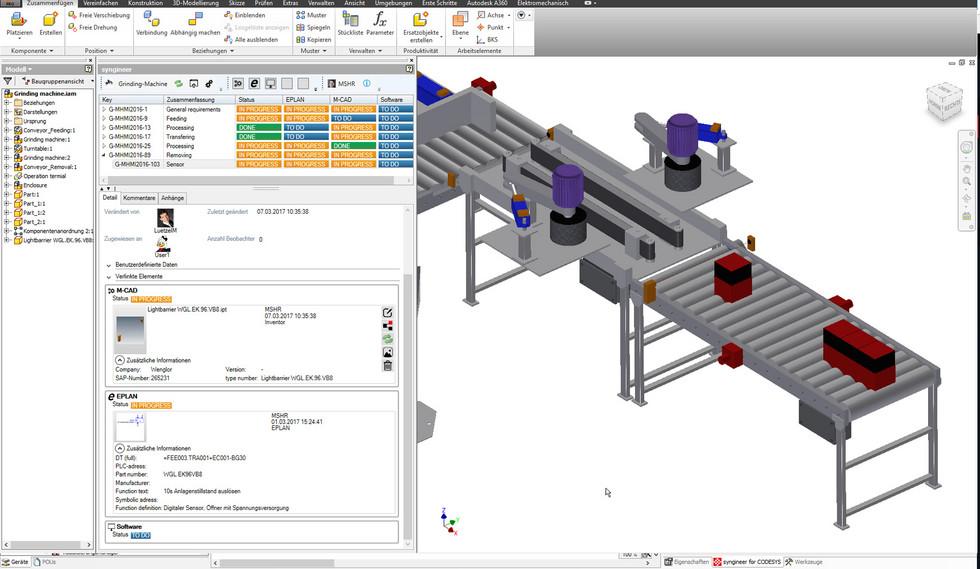 """Integracja interfejsu programu Autodesk Inventor umożliwia podłączenie modeli 3D do Syngineer za pomocą zwykłego polecenia """"drag & drop"""""""